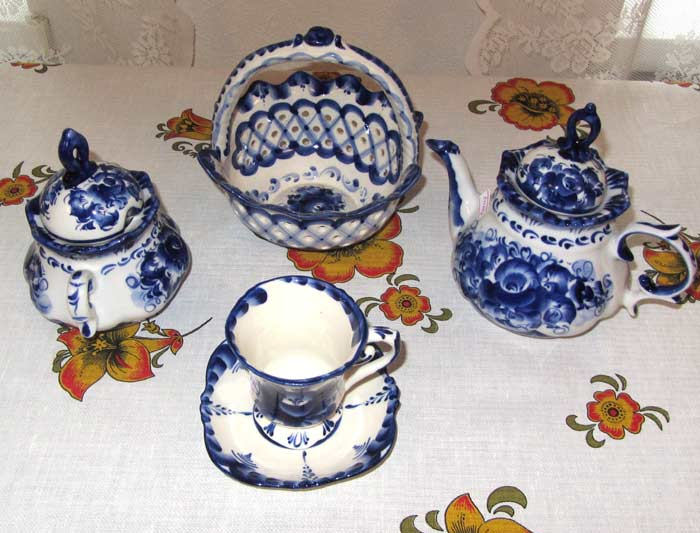 Gzhel style porcelain tea set