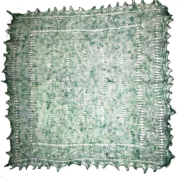 Green Orenburg shawl
