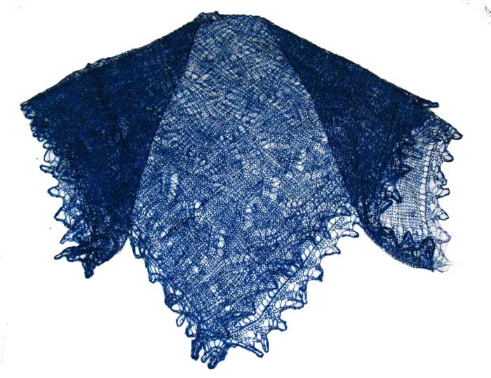 Dark blue Orenburg shawl
