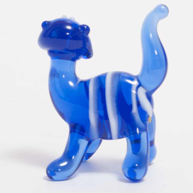 Glass Blue Stripped Cat
