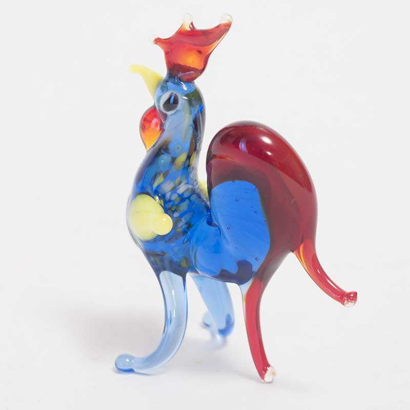 Glass Blue Rooster Figure