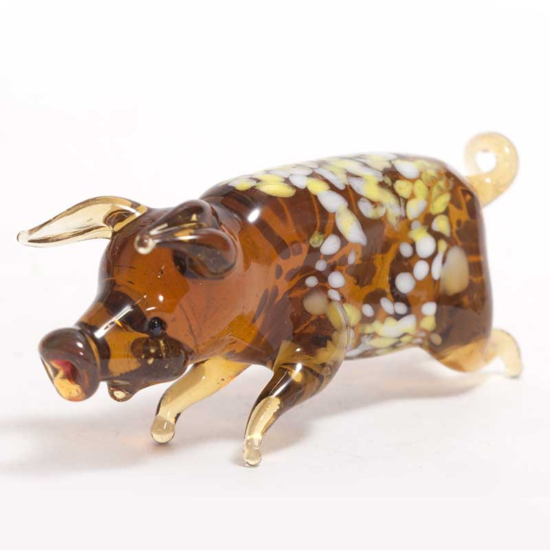 Pig glass figurine