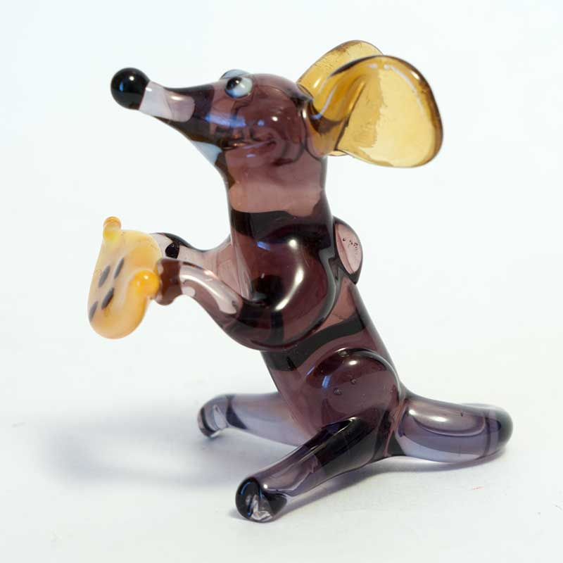 Rat glass figurine