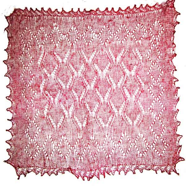 Red Orenburg shawl