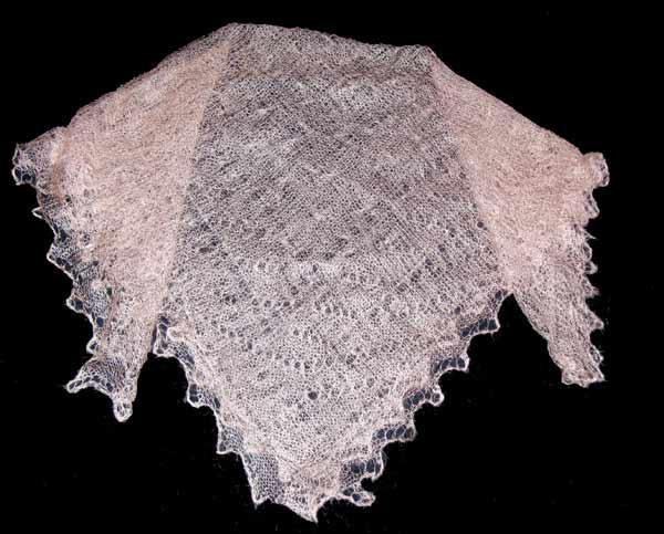 Peach Orenburg shawl