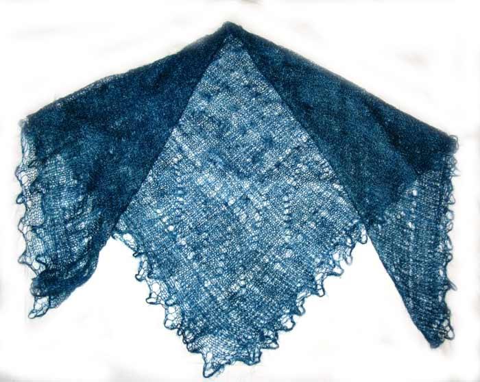 Marine blue Orenburg shawl