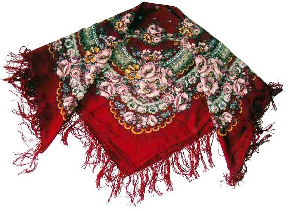 Poppy Blossom Woolen Shawl