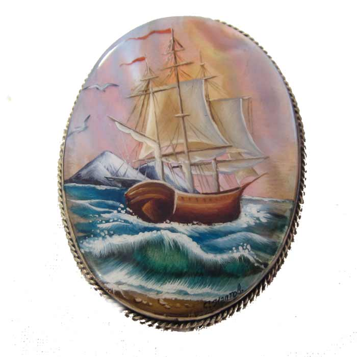 Mother-of-pearl brooch