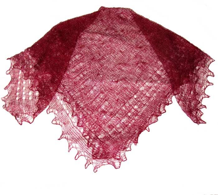 Vinous red Orenburg shawl