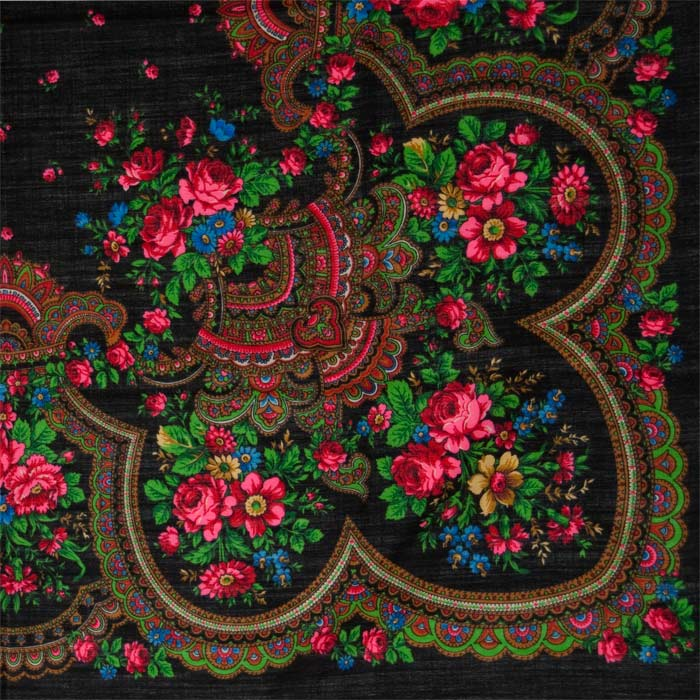 Russian Povlovo Posad woolen shawl