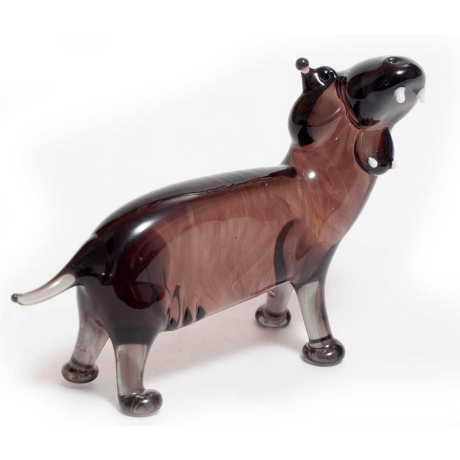 Hippo glass figurine