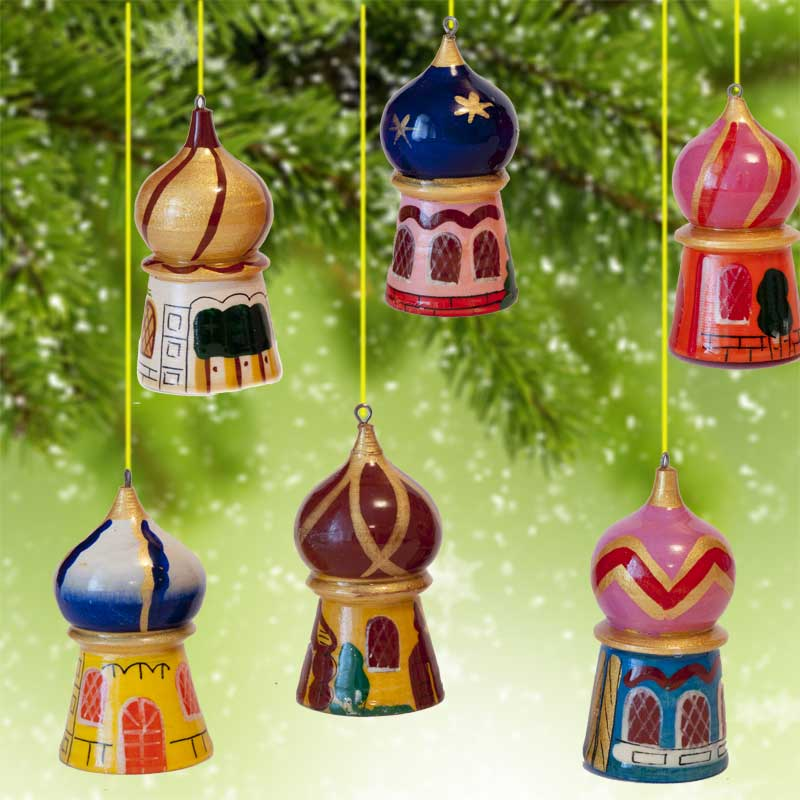 russian domes christmas ornaments set fig
