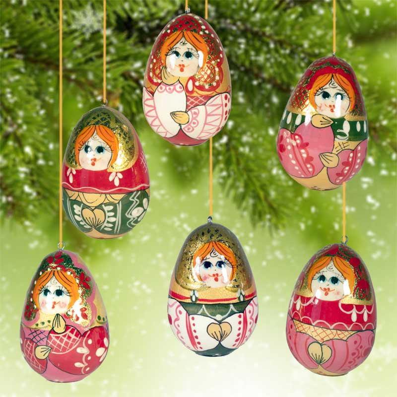 wooden christmas ornaments set matryoshka fig - Wooden Christmas Decorations