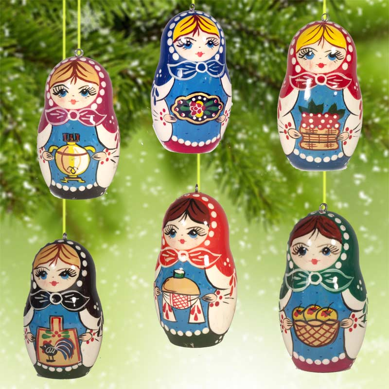 christmas ornaments matryoshka motives fig