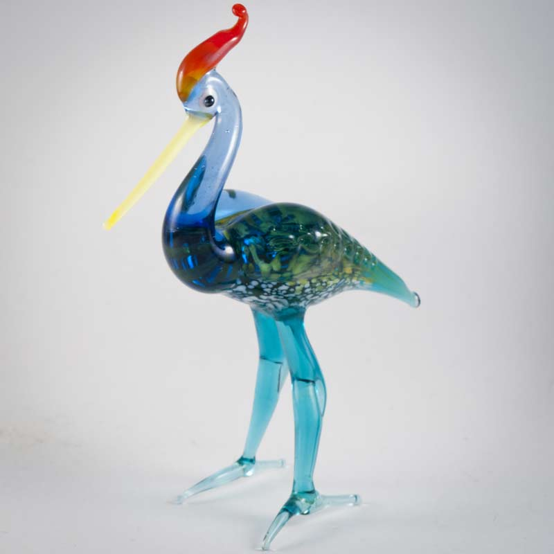 Glass  Crane Figurine