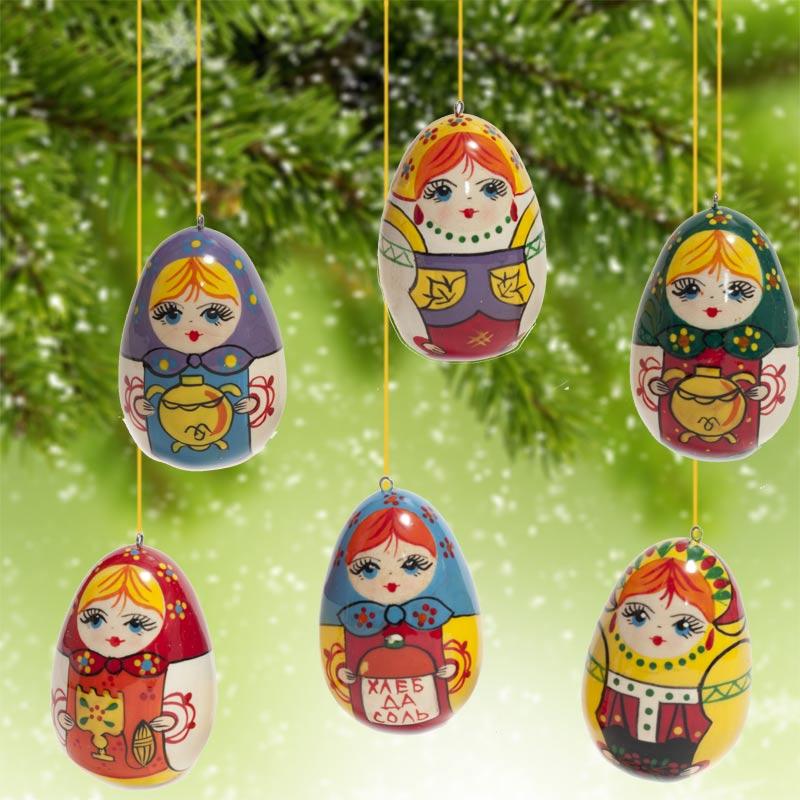 Russian Matryoshka Dolls Ornaments, fig. - Russian Dolls Christmas Ornaments - Russian Christmas Ornaments