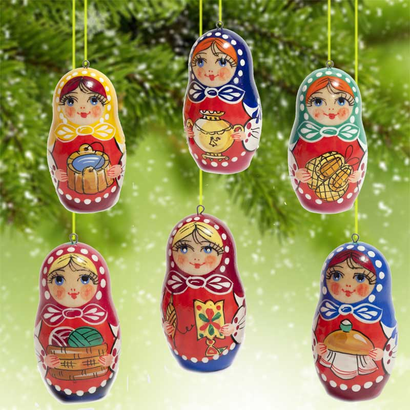 Ornaments Set Russian Matryoshka