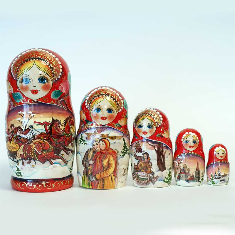 Matryoshka Doll Russian Winter Troyka
