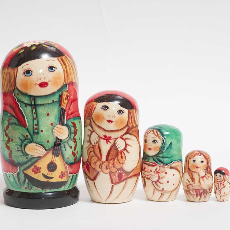 Country Children Nested Doll Russian Matryoshka Nested