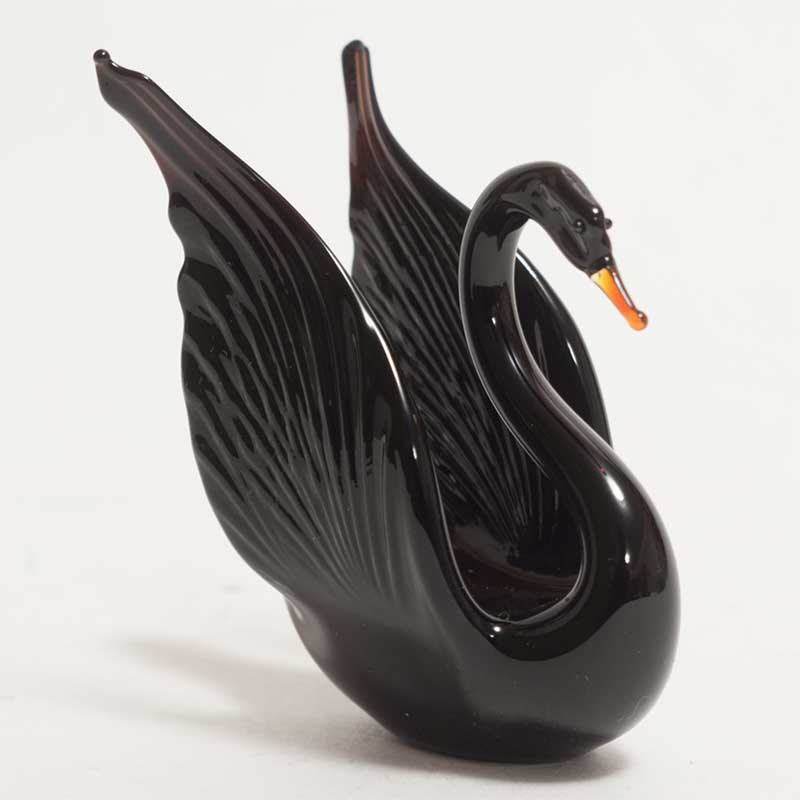 Glass Black Swan Figurine