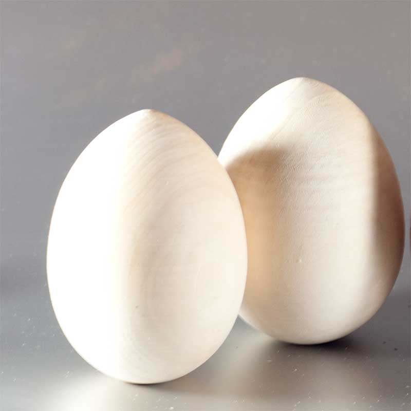 Set of 6 Wood Blank Unpainted Eggs