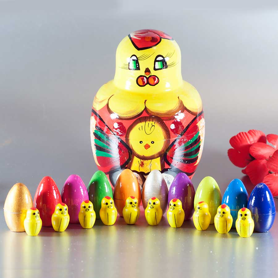Matryoshka easter gifts hen with ten chickens russian nesting doll easter gifts hen with ten chickens fig negle Images