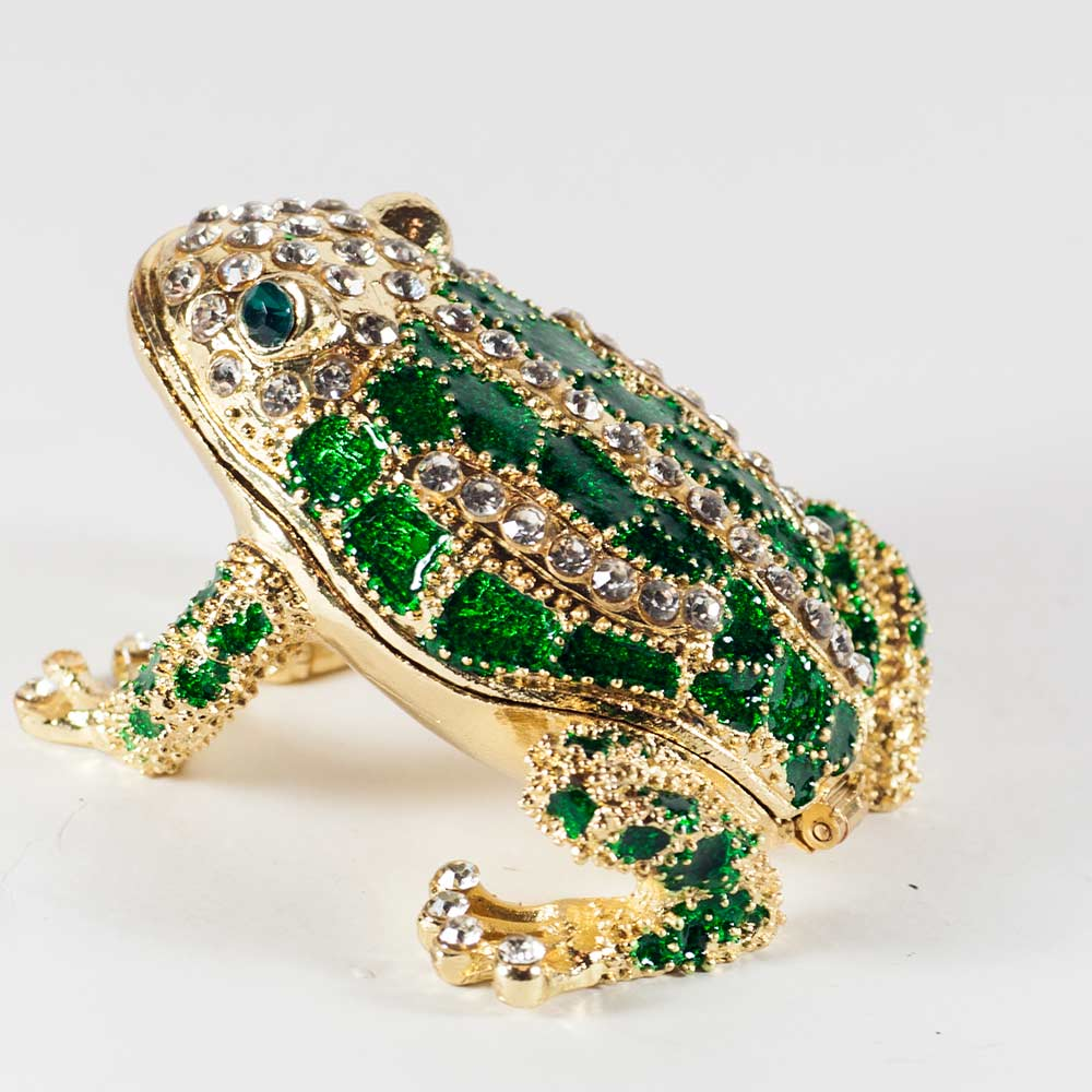 Austrian Crystal Decorated Box Faberge Frog Collection Jewelry Box Green Frog Faberge Style Enamel Jewelry Box