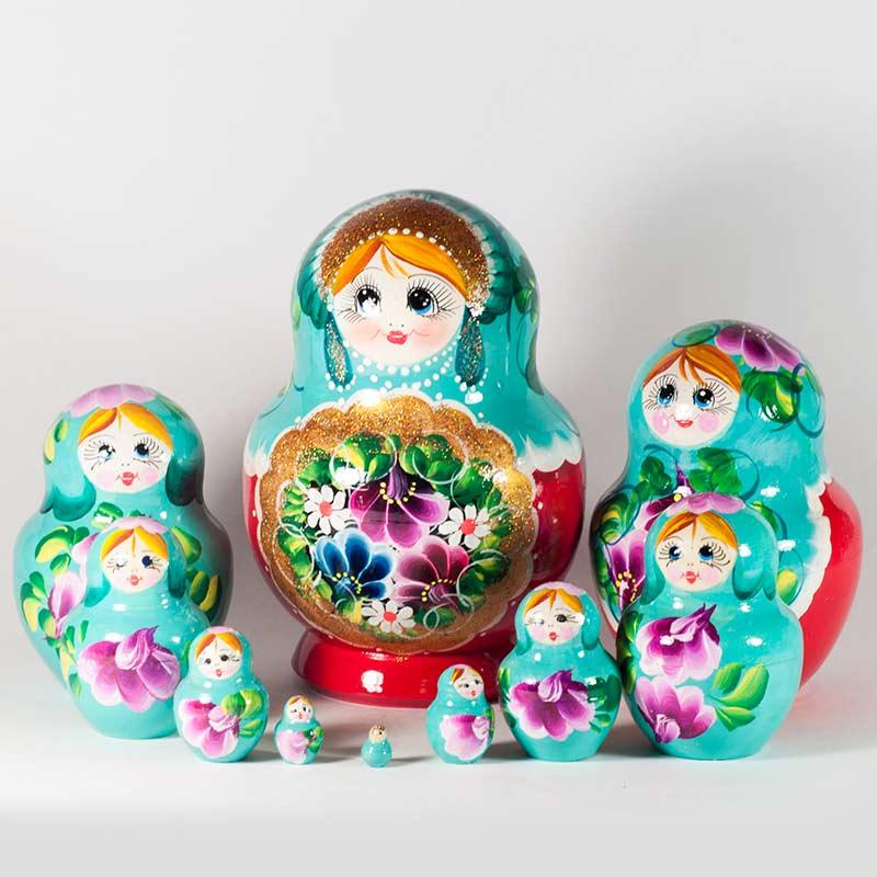 Red Daisy Blue Eye Russian dolls Montesary dolls