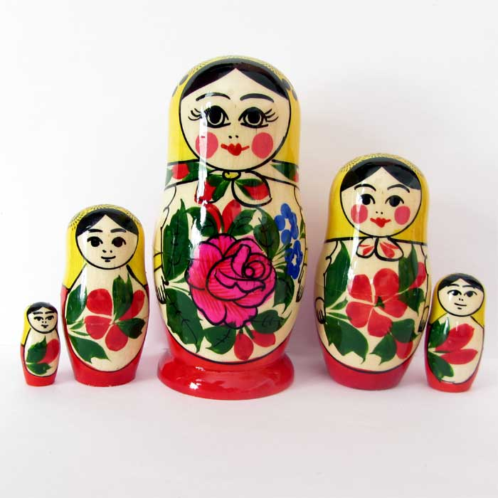 Matrioshka Russian Girls, 5 pieces