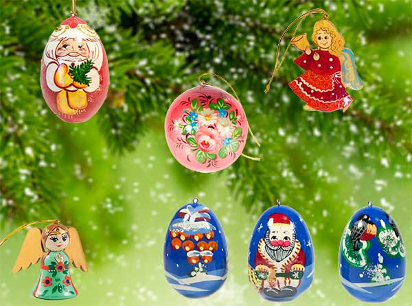 Russian Christmas Ornaments and Handpainted Wooden Figurines