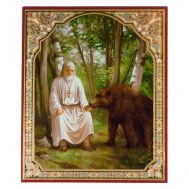 Icon Serafim Sarovskiy with Bear, fig. 1