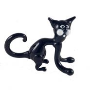 Glass Black Cat Figurine, fig. 1