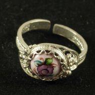 Enamel Ring Crimson Flower Pink, fig. 1