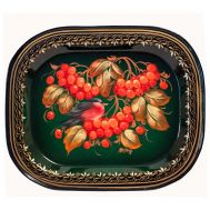 Zhostovo Tray Viburnum Berries on Green, fig. 1