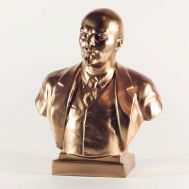 Lenin Gypsum Bust Bronze Color, fig. 1