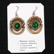 Birch Bark Earrings with Malachite, fig. 1