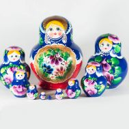 Matryoshka Wild Flowers on Blue, fig. 1