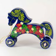 Wooden Blue Horse Rolling Toy, fig. 1