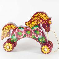 Wooden Burgundy Color Horse Rolling Toy, fig. 1