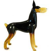 Doberman Glass Figurine