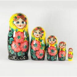 Stacking Doll Yellow with Poppies, fig. 1